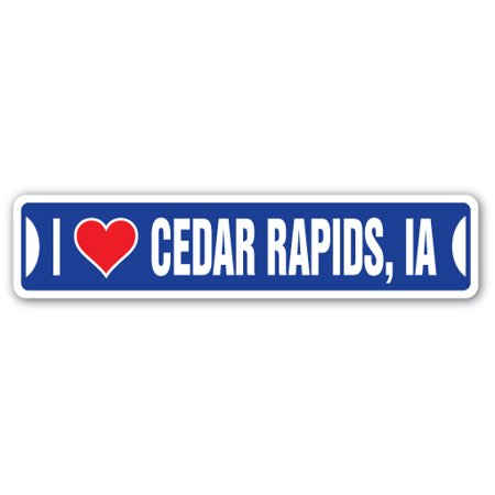 I LOVE CEDAR RAPIDS, IOWA Street Sign ia city state us wall road décor gift (Party City Cedar Rapids)