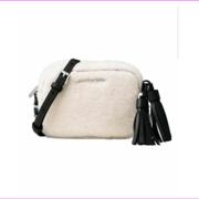 Michael Kors Womens Jet Set Shearling Leather Trim Crossbody Handbag