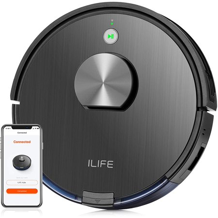 ILIFE A10 Robot Vacuum Cleaner, Smart Laser Navigation and Mapping, 2000Pa Strong Suction,Wi-Fi Connected, Multiple-Floor Mapping,2-in-1 Roller Brush,Ideal for Hard Floors to Medium-Pile Carpets.