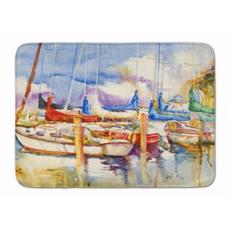 End Stall Sailboats Machine Washable Memory Foam Mat