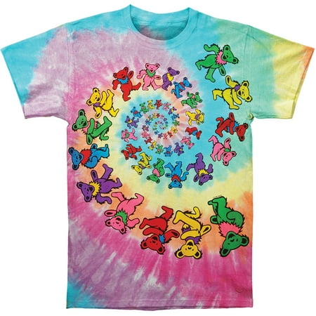 Grateful Dead Men's  Spiral Bears Tie Dye T-shirt - Mens Multi Stripe Shirt