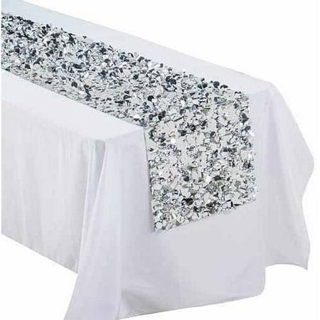metallic floral sheeting table runner 36 silver. Black Bedroom Furniture Sets. Home Design Ideas