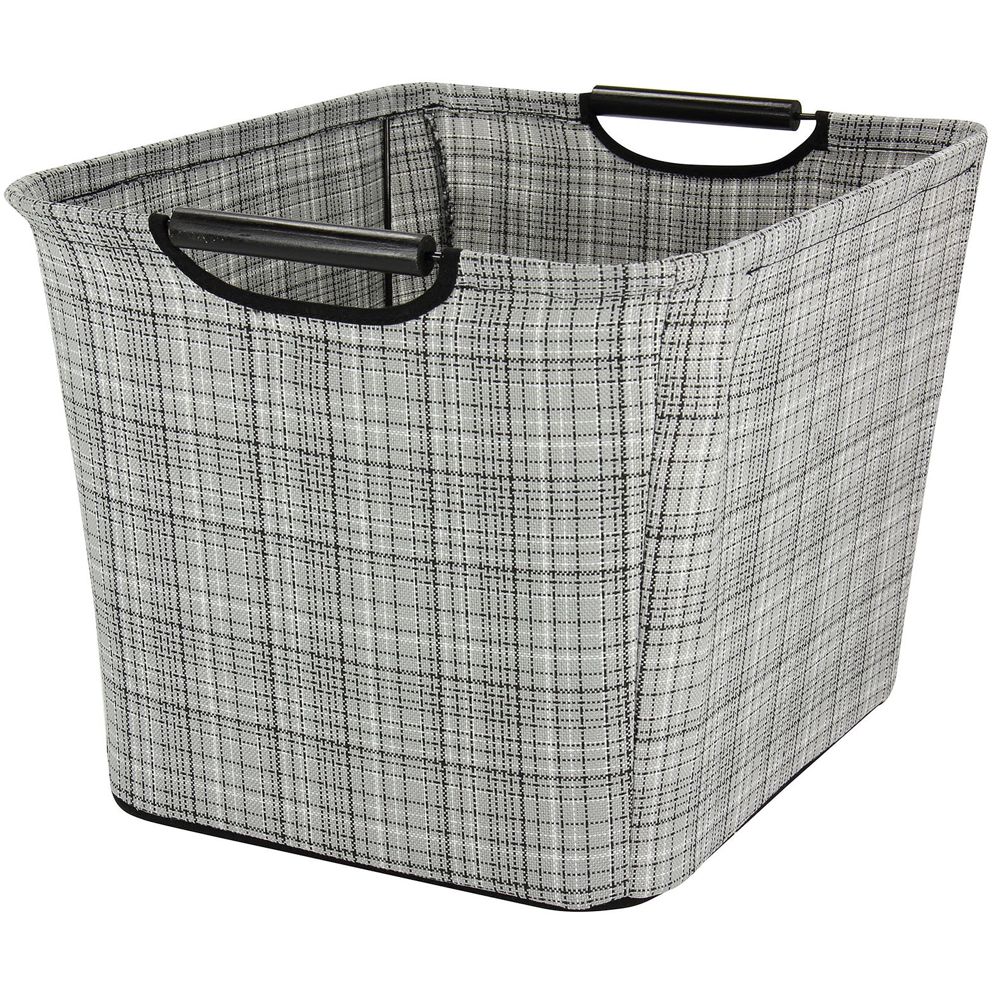 Household Essentials Medium Tapered Storage Bin with Wood Handles, Grey Plaid