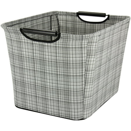 Household Essentials Medium Tapered Storage Bin with Wood Handles, Grey Plaid