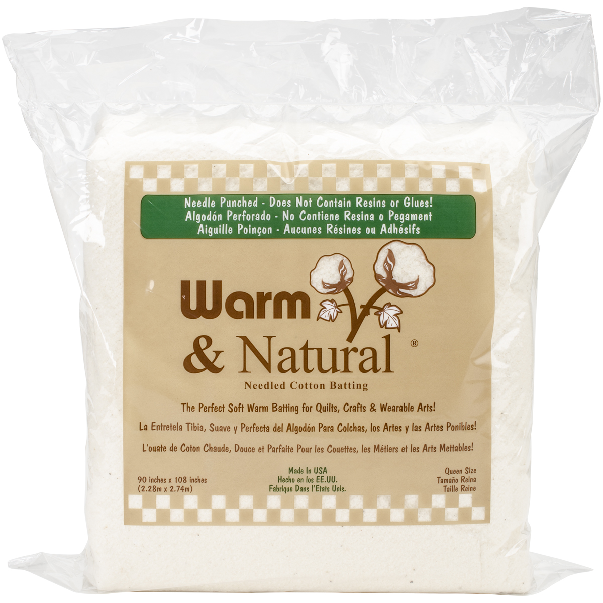 "The Warm Company Warm & Natural Cotton Batting, Queen Size, 90"" x 108"""