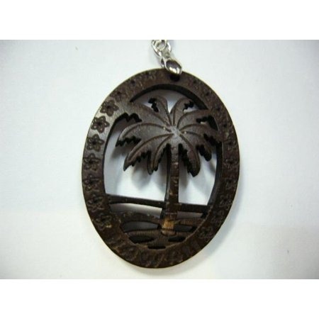 Hawaiian Tropical Palm Tree Carved Coconut Shell Necklace -18