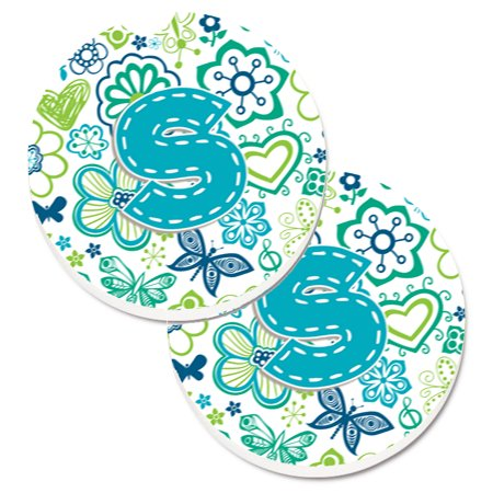 Letter S Flowers and Butterflies Teal Blue Set of 2 Cup Holder Car Coasters CJ2006-SCARC (Teal Coasters)