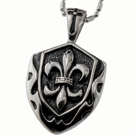 R.H. Jewelry Stainless Steel Pendant, Vintage Fleur-de-lis Shield Necklace  …