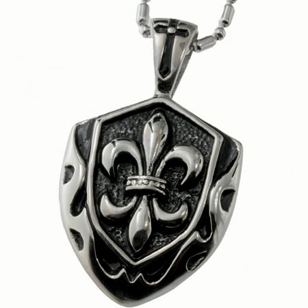 R.H. Jewelry Stainless Steel Pendant, Vintage Fleur-de-lis Shield Necklace