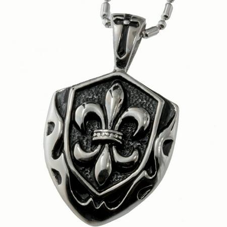 R.H. Jewelry Stainless Steel Pendant, Vintage Fleur-de-lis Shield Necklace