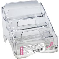 Officemate OIC Breast Cancer Awareness Business Card Holder, 4 Tiers, Clear (08930)