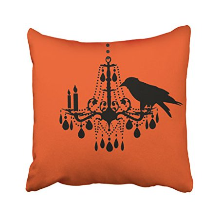 WinHome Funny Vintage Halloween Orange Chandelier Raven Pattern Personalized Polyester 18 x 18 Inch Square Throw Pillow Covers With Hidden Zipper Home Sofa Cushion Decorative Pillowcases](Halloween Funny Cover Photo)