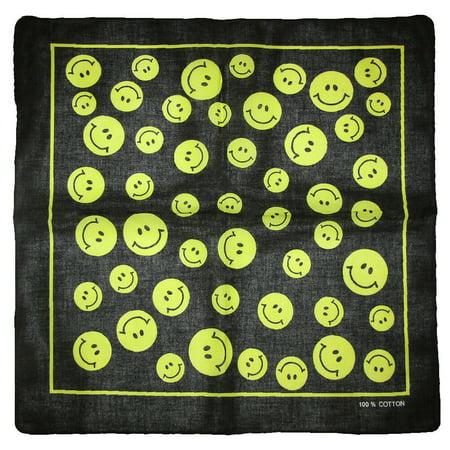 "22/""x22/"" Smiley Smile Happy Face Rainbow Peace Bandana"