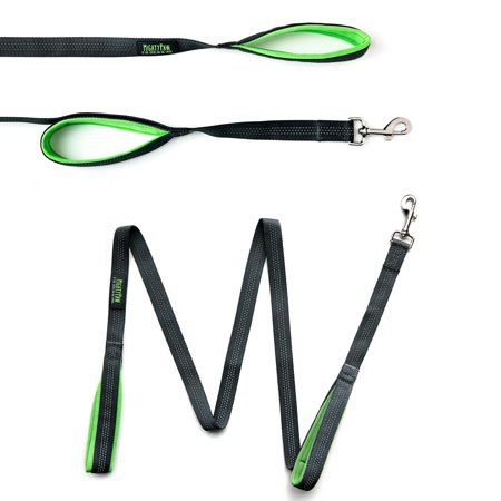 Mighty Paw HandleX2 Dual Handle Dog Leash, Quality 6 Foot Long Reflective Dog Lead with 2 Handles. (Grey/Green) - Four Paws Leads