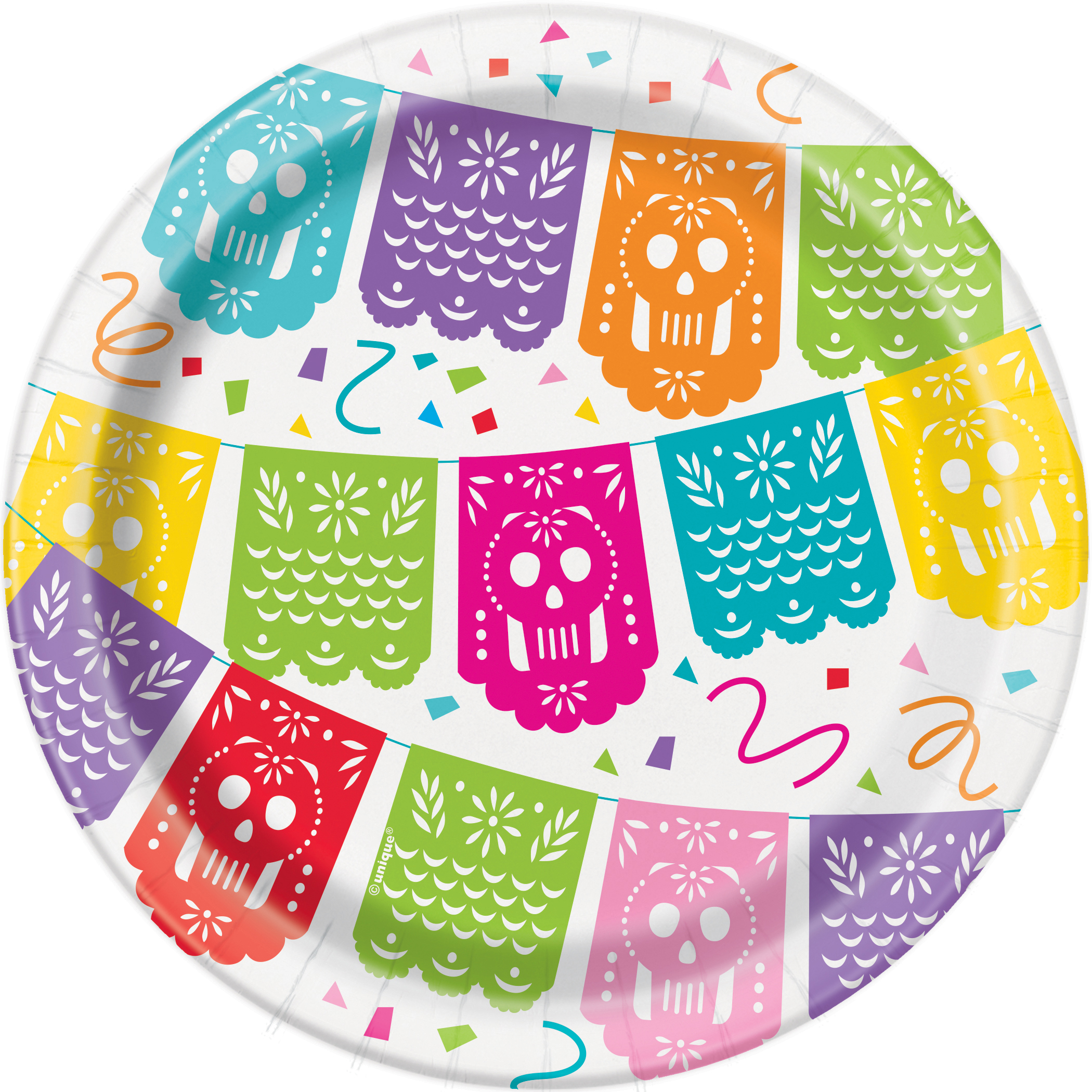 Mexican Fiesta Paper Dessert Plates, 7 in, 8ct