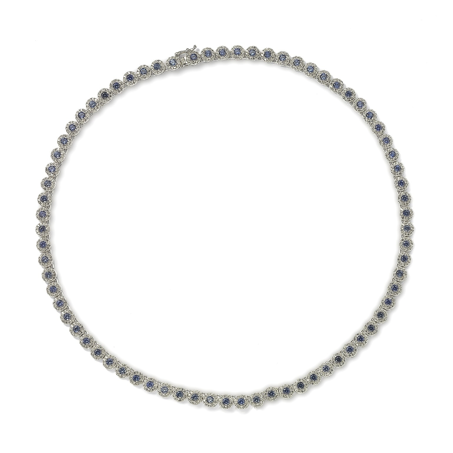 Suzy Levian Sterling Silver Sapphire and Diamond Accent Tennis Necklace by Suzy Levian LLC
