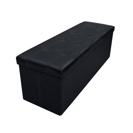 Otto & Ben 45 Inch Button Design Memory Foam Folding Storage Ottoman Bench with Faux -