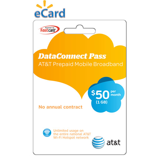 (Email Delivery) AT&T Prepaid Mobile Broadband Data Connect Pass, $50 per month, 1GB