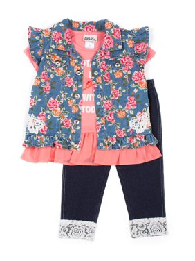 Little Lass Floral Printed Denim Vest, Chiffon Hem Top and Knit Denim Legging, 3-Piece Outfit Set (Little Girls)