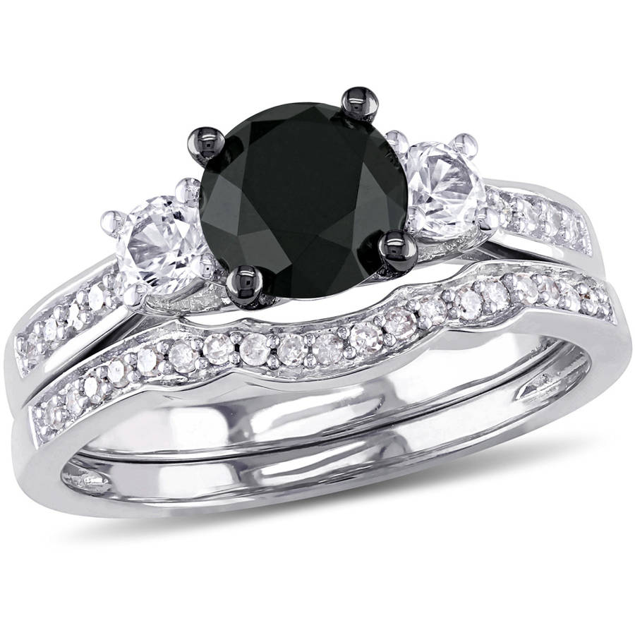 7 8 Carat T.W. Black and White Diamond and 1 3 Carat T.G.W. Created White Sapphire 10kt White Gold Bridal Set by Generic