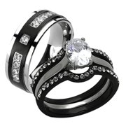 his her 4pc black silver stainless steel titanium wedding ring band set size - Wedding Rings For Her And Him