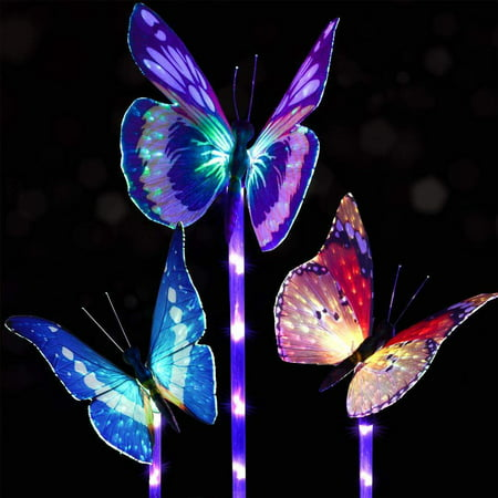 Coolmade 3 Pack Outdoor Solar Garden Stake Lights - Solar Stake Light Multi-color Changing LED Garden Lights, Fiber Optic Butterfly Decorative Lights with a Purple LED Light Stake for Garden (Butterfly Path Light)