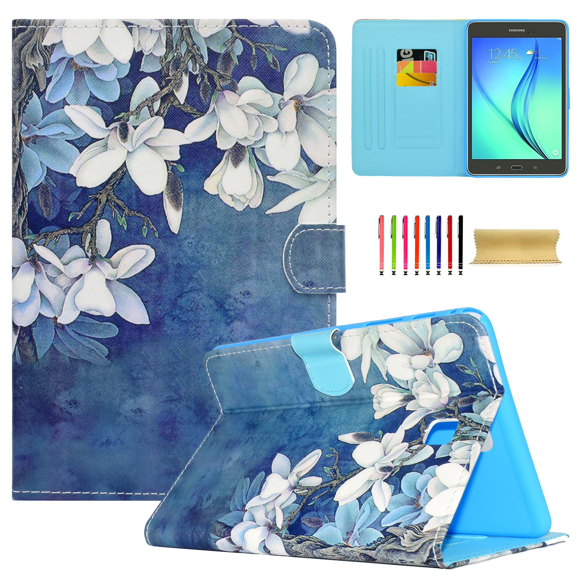 For Samsung Galaxy Tab A 8.0 Inch (SM-T350/P350) Tablet Case, Goodest PU Leather Folio Kids Friendly Case with Card Slot [Anti-slip Grooves] [Auto Sleep/Wake Function] Stand Cover, White Magnolias