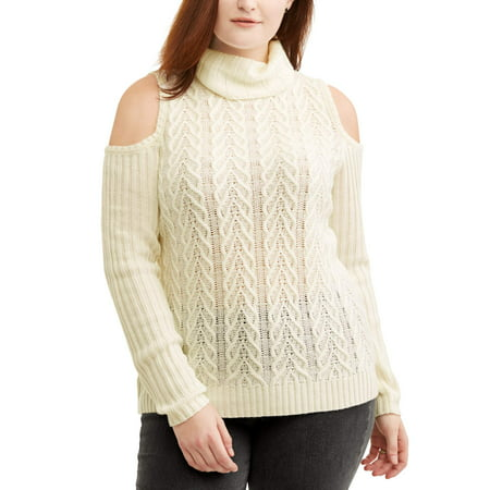 Faded Glory Women's Plus Turtle Neck Cold Shoulder Sweater