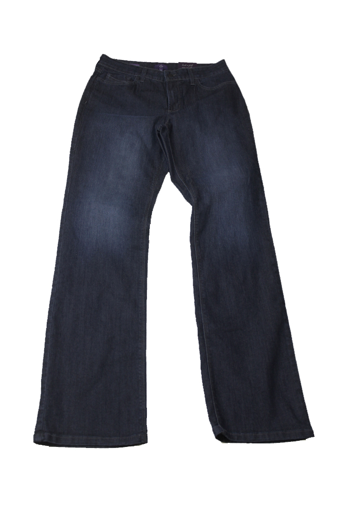 Nydj Dark Blue Marilyn Tummy-Control Straight-Leg Jeans 8