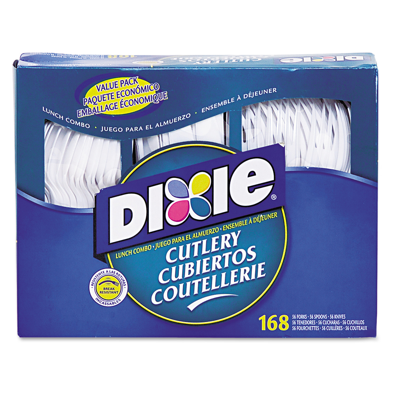 Dixie Combo Pack, Tray w/ White Plastic Utensils, 56 Forks, 56 Knives, 56 Spoons -DXECM168