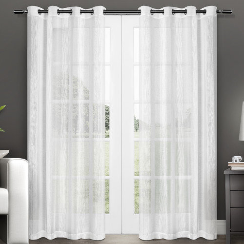 """Exclusive Home Penny Grommet Top Window Curtain Panels, White, Set of 2, 50"""" x 96"""""""