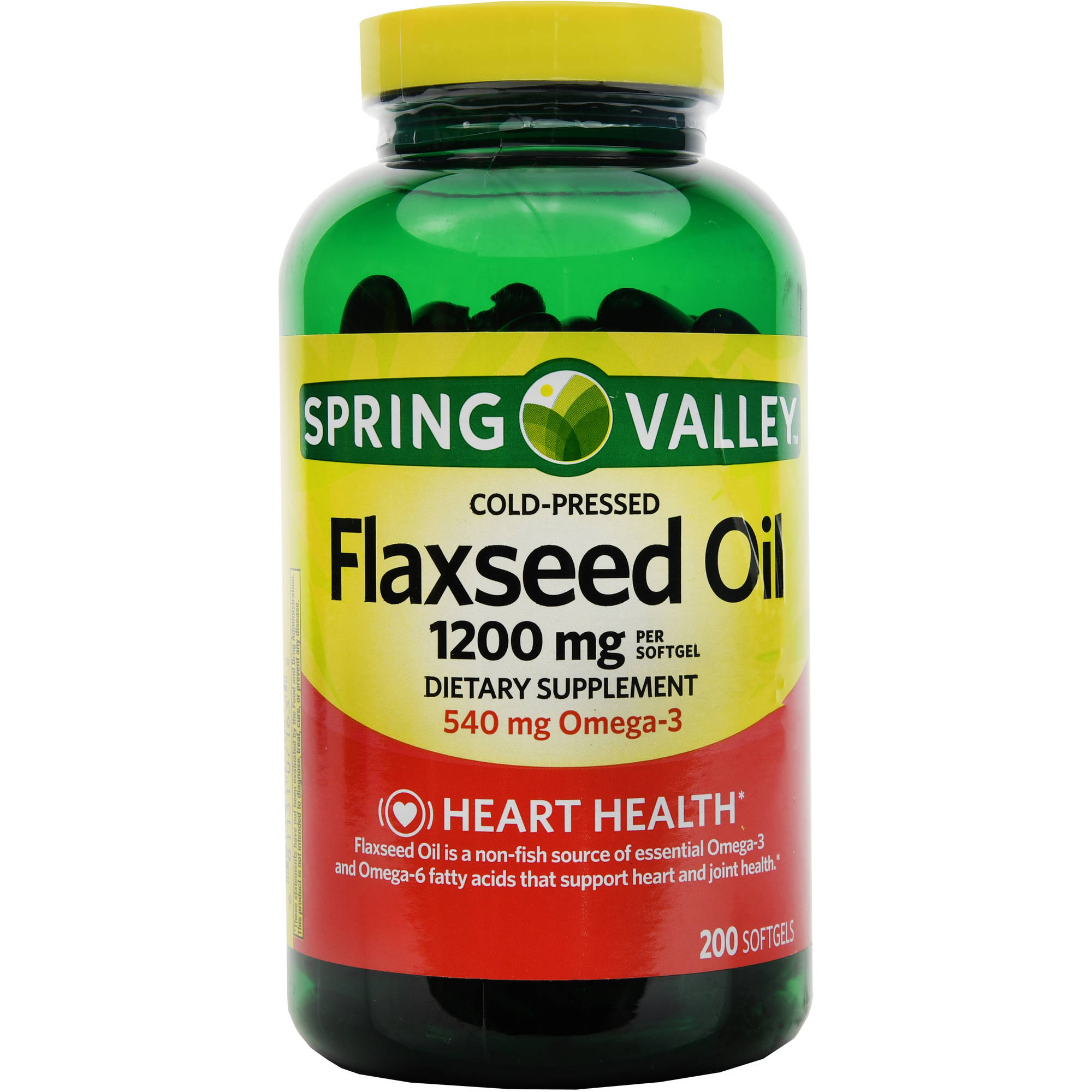 Spring Valley Flaxseed Dietary Supplement Softgels, 1200mg, 200 count