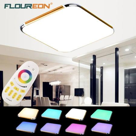 Floureon 24W RGB LED Ceiling Light Dimmable Flush Mount Living Room Kitchen Hotal Lamp