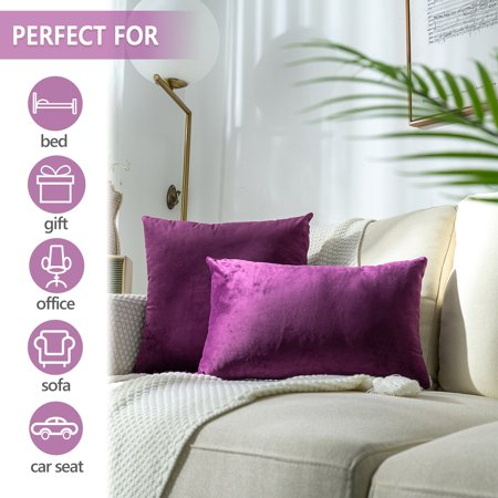 CLEARANCE! Throw Pillows Covers 2 Pack, Premium Velvet Rectangle Solid Decorative Pillows, Cushion Cases Pillowcases for Couch Home Decoration Sofa Bedroom Car, 12'' x 20'', Eggplant Purple, S14442 Bronze Throw Pillow