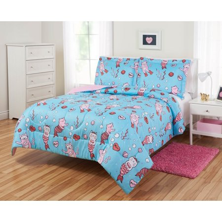 Mermaid Comforter (Mainstays Kids Mermaid Cats Coastal Reversible Comforter Set, Multiple Covers)