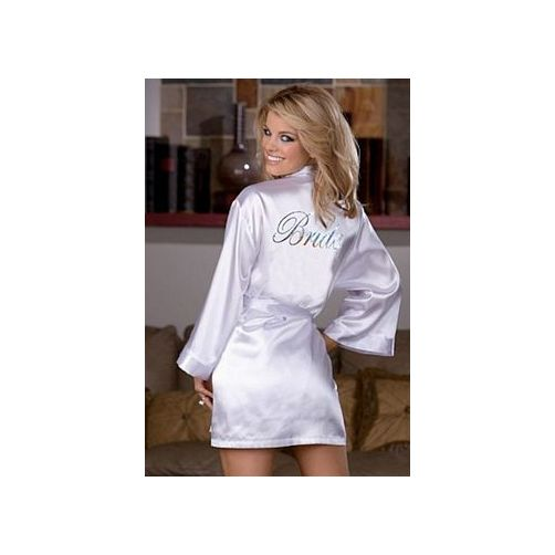Charmeuse Bride Robe and Babydoll Set 6278 Dreamgirl White