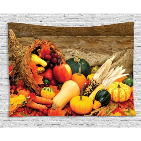 Harvest Tapestry  Thanksgiving Related Foods Scattered On Wooden Table Vegetables Fruits  Wall Hanging For Bedroom Living Room Dorm Decor  80W X 60L Inches  Vermilion Brown Green  By Ambesonne