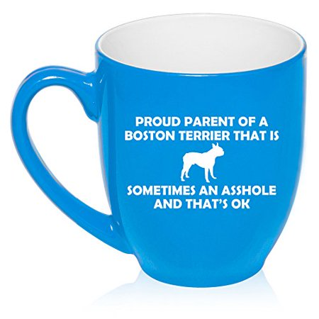 - 16 oz Large Bistro Mug Ceramic Coffee Tea Glass Cup Proud Parent Boston Terrier (Light Blue)
