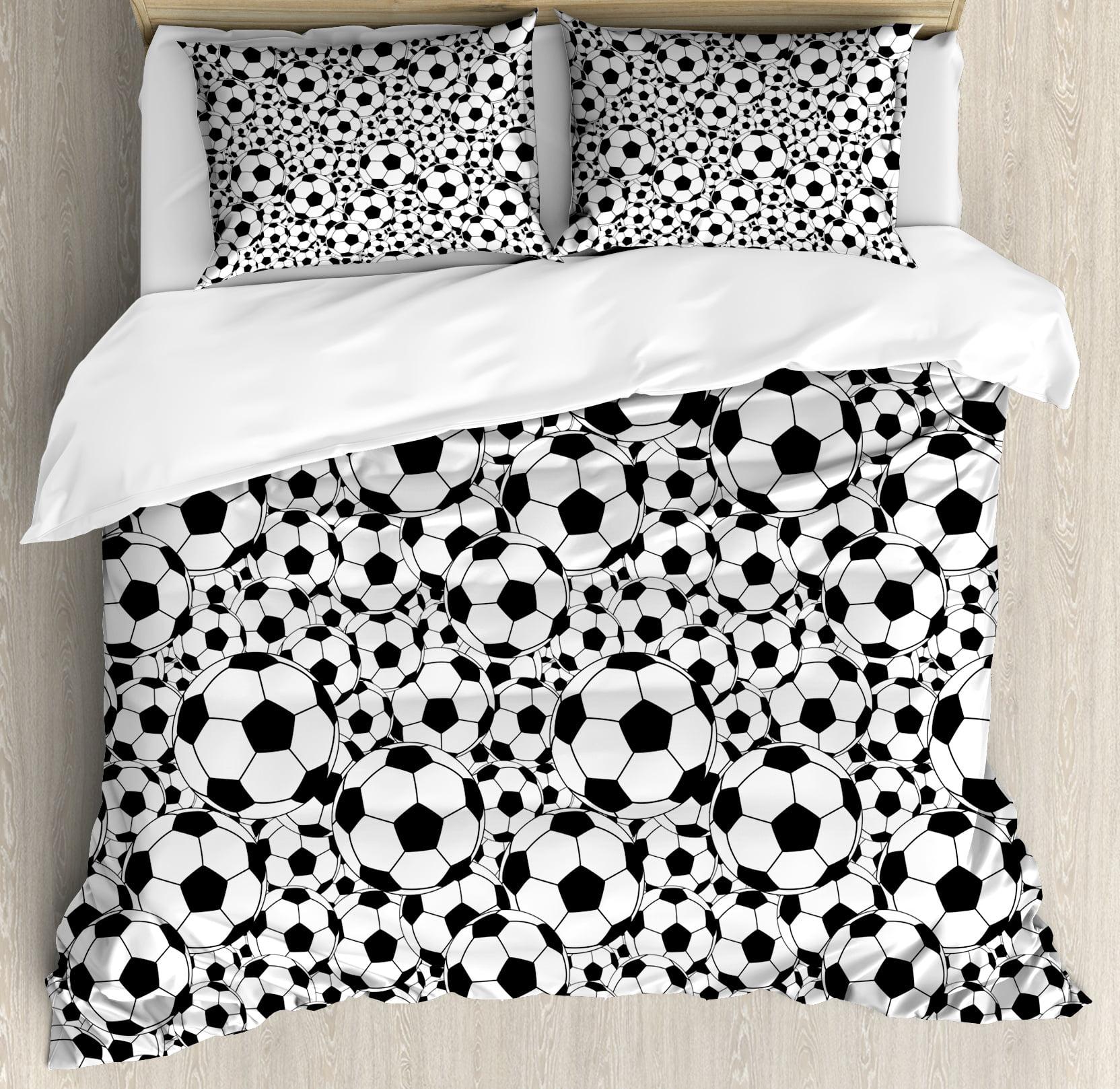 Soccer Queen Size Duvet Cover Set, Monochrome Design Pattern of Classical Football Balls... by Kozmos