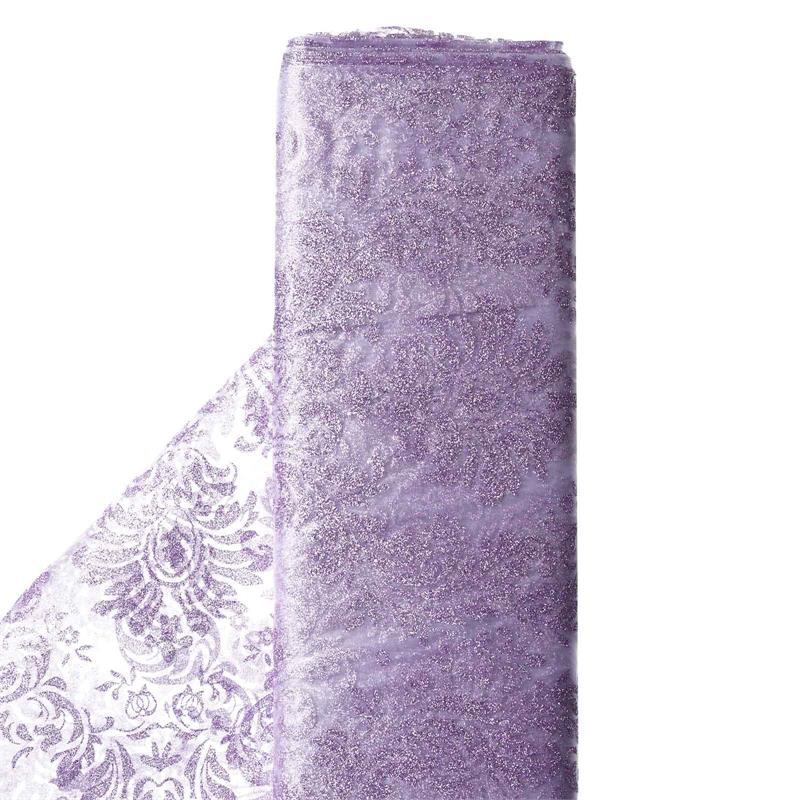 "BalsaCircle 54"" x 10 yards Glittered Flocking Damask on Organza Fabric Bolt Put-up - Sewing Crafts Draping Decorations Supplies"