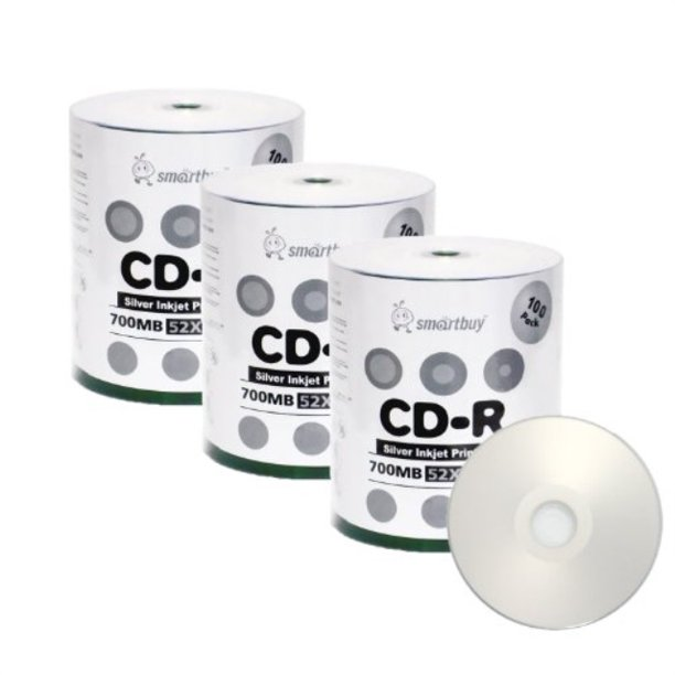 Smart Buy Cd-r 300 Pack 700mb 52x Printable Silver Inkjet