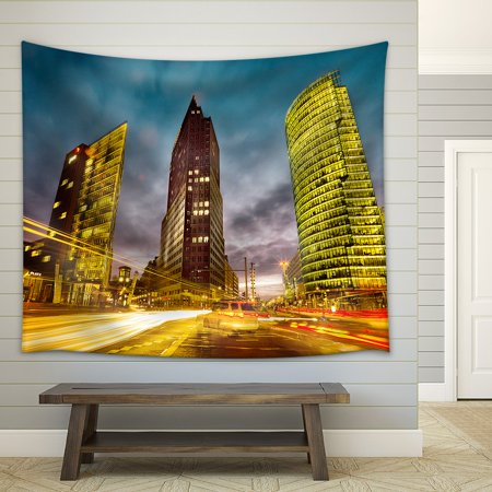 wall26 - Intersection in Front of the Potsdamer Platz in the City Center of Berlin, Germany - Fabric Wall Tapestry Home Decor - 51x60 inches
