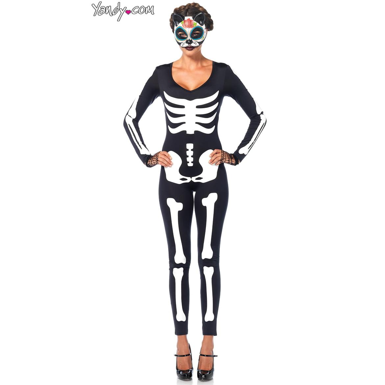Glow In The Dark Skeleton Catsuit Adult Halloween Costume - Walmart.com
