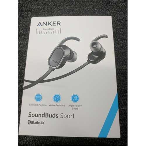 Refurbished Anker SoundBuds Wireless Headphones - Bluetooth Black Water Resist Built in Mic