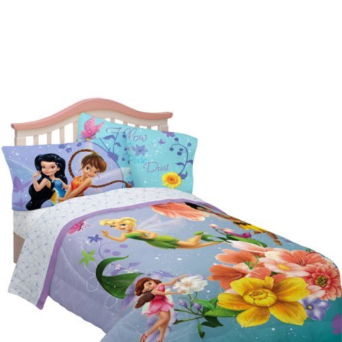 Disney Fairies Fantasy Floral Twin / Full Comforter with Optional Sheet Set