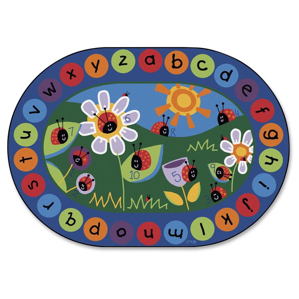 """Carpets for Kids Ladybug Circletime Rug - 99"""" Length x 11.67 ft Width - Oval"""