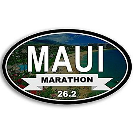 Oval Maui MARATHON 26.2 Sticker Decal (hawaii run running ran race) 3 x 5 (Maui Jim Maui Cat Iii)