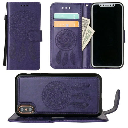 Apple iPhone X Wallet Case, Slim PU Leather Embossed Design with Matching Detachable Magnetic Cover Wristlet for Women by Cellular Outfitter [Dreamcatcher -