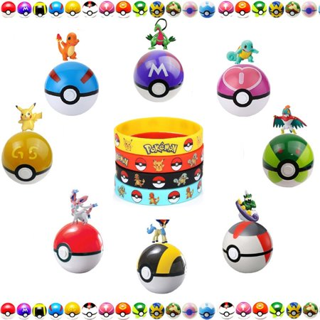 9 Pokemon Inspired Style Balls, 9 Pokemon Figures, and 12 Pokemon Silicone Bracelet. Best Birthday Present or (Best Pokemon Toys For 2019)