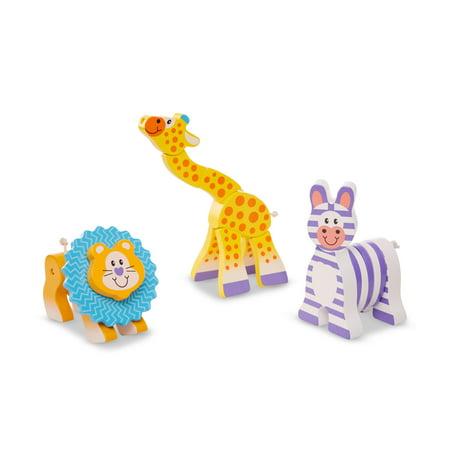 Giraffe Lion Bird - Melissa & Doug First Play Set of 3 Safari Animal Wooden Grasping Toys (Lion, Giraffe, Zebra)